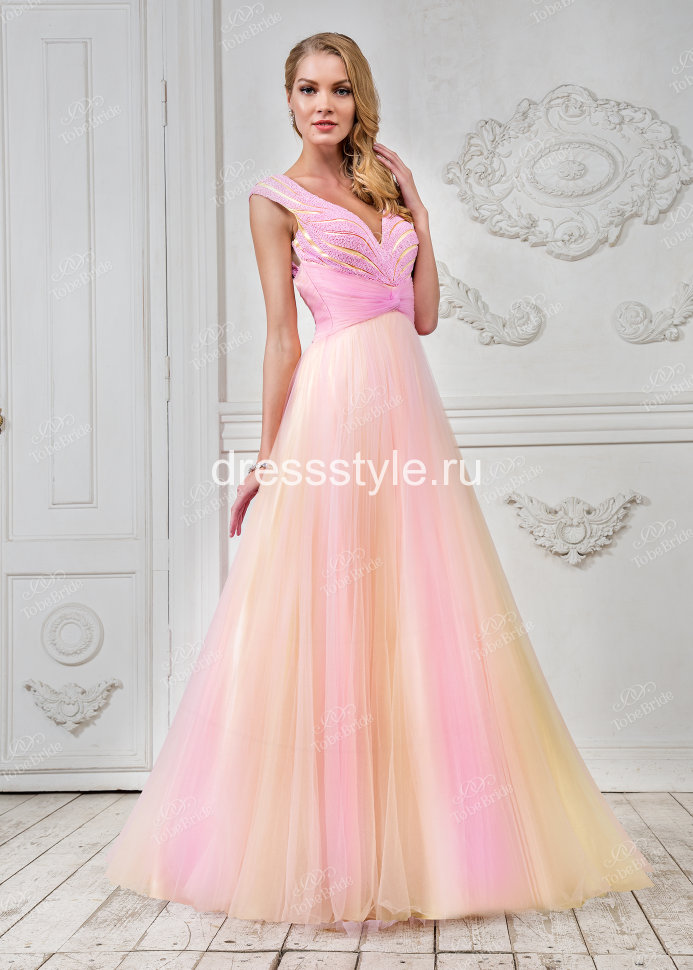 06f21240cfb Розовое вечернее платье с А-силуэтом и V-образным вырезом лифа CH0012B