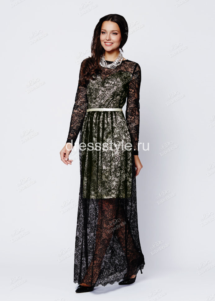 62663978cad Вечернее длинное белоснежное платье-футляр из атласа и черного кружево  MS001B