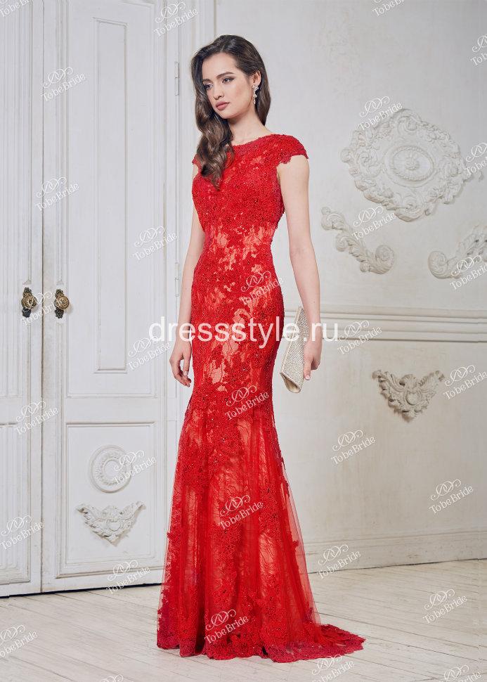 758238a3c3b8627 Красное вечернее платье с овальным вырезом на спине CH002B купить в ...