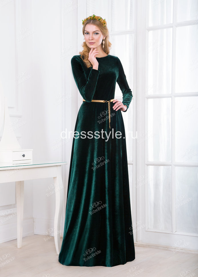05e661d3c8c Вечернее длинное платье зеленого цвета с длинным рукавом MS002B ...
