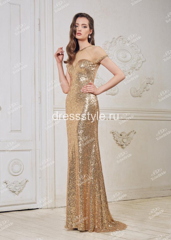 f01e5c8a29b Золотое вечернее длинное платье CH0016B купить в интернет-магазине ...