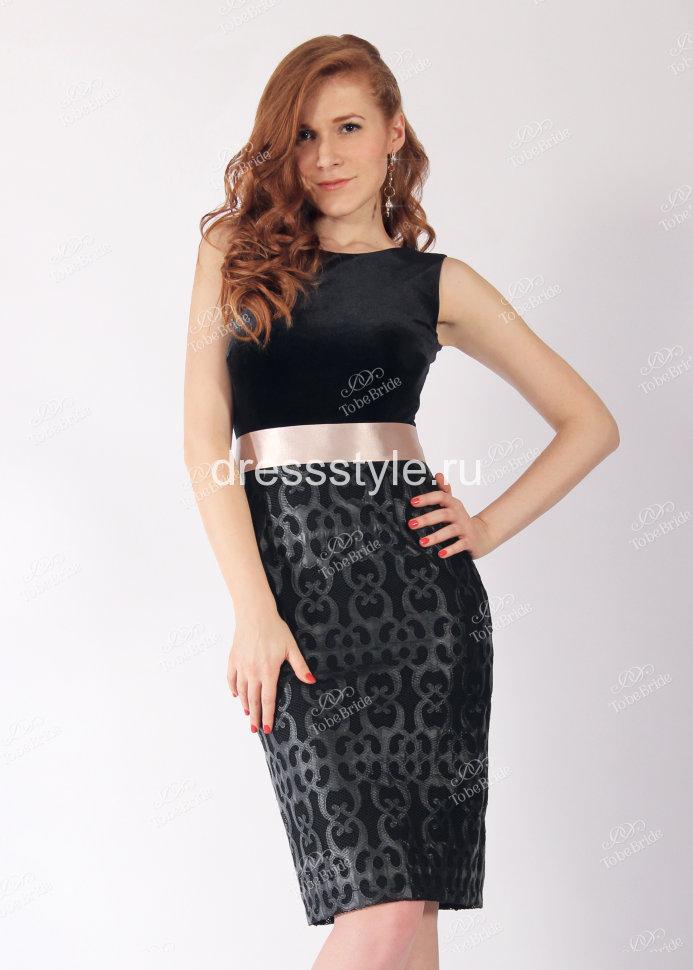 15a37e61902 Короткое вечернее платье-футляр с бархатным лифом и атласным поясом ND046B