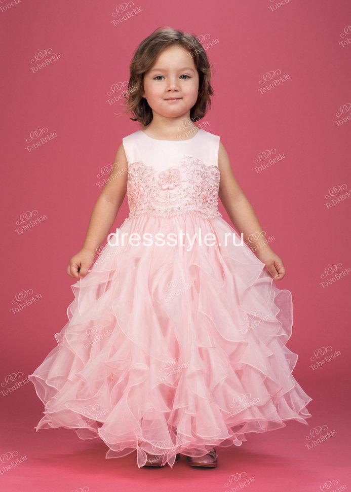1600be5a8a9 Детское платье нежно розового цвета декорировано пайетками бисером  искусственным жемчугом HB018D
