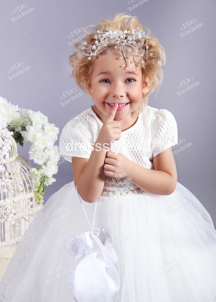 f80f6a9c6d4 Детское платье белого цвета с пышной юбкой HB002D купить в интернет ...