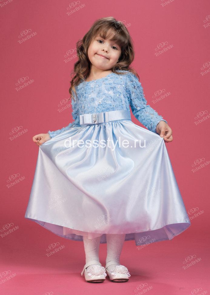 e0b7d16d2cd Детское платье голубого цвета из плотного атласа HB014D купить в ...
