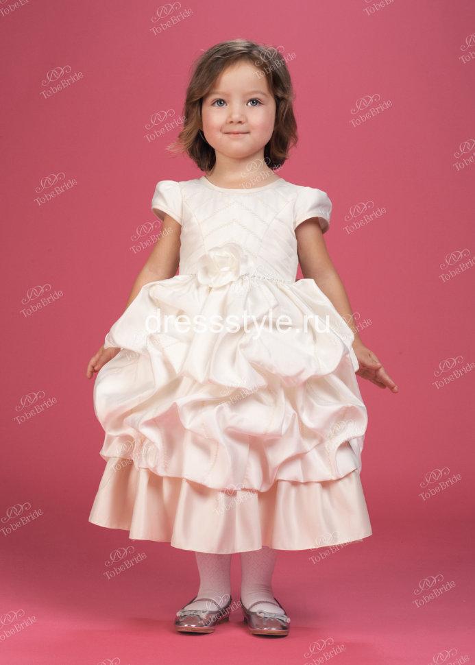 8129e310188 Детское платье цвета айвори из плотного атласа HB006D купить в ...