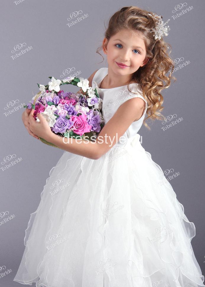 6be6a841c41 Детское белое платье с пышной юбкой HB016D купить в интернет ...