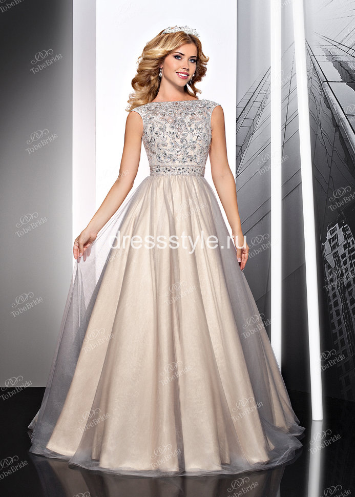 453bddb049f Вечернее длинное платье кремового цвета с пышной юбкой и декорированным  лифом MC065B
