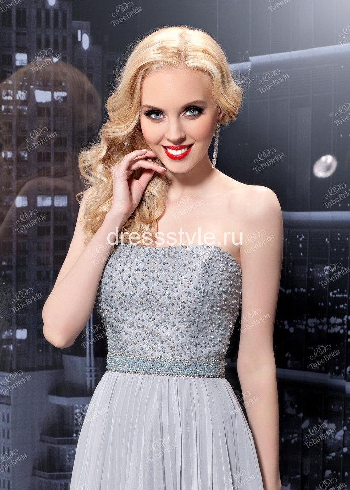 010c9ef3998f1bc Серое вечернее длинное платье с глубоким декольте MC048B купить в ...