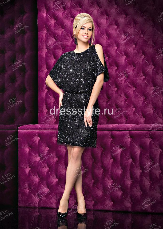 cf0aa66768a Вечернее короткое платье-мини с открытой спиной и рукавами «летучая мышь»  AV026B