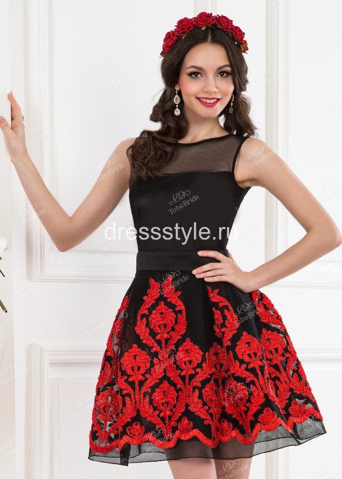 1927d4c7f28722d Короткое вечернее платье с пышной юбкой колокол черно-красного оттенка  ND071B