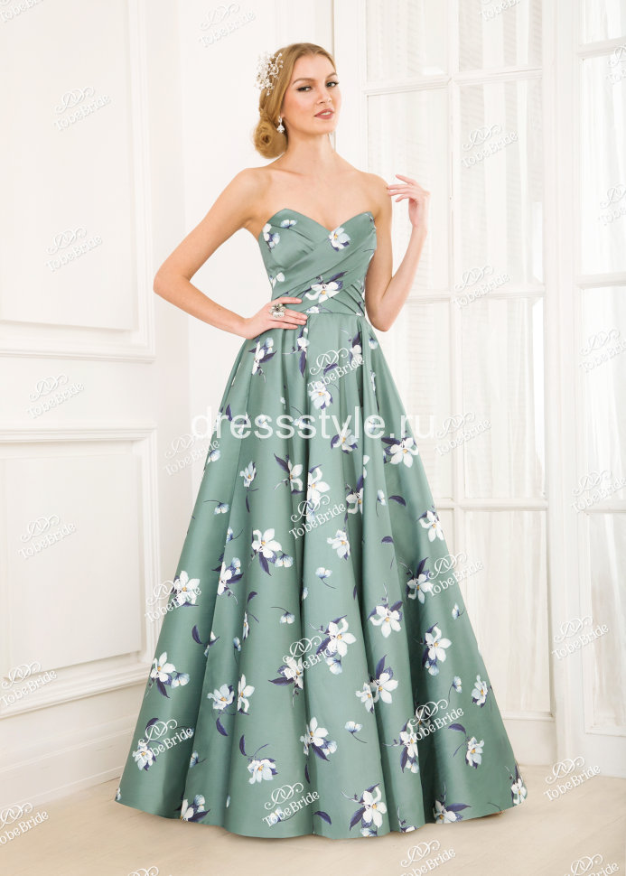 fd30f89cedb Зеленное вечернее длинное платье-бюстье с принтом из крупных цветов EM011B