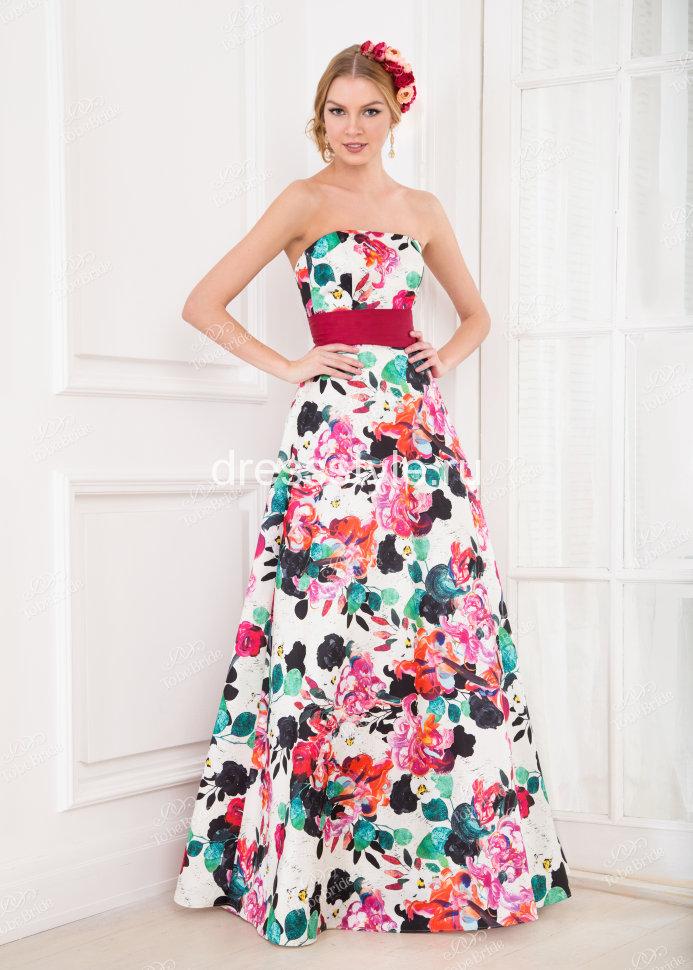 9ad188871eb Вечернее длинное платье-бюстье с пышной юбкой и красным широким поясом  NN015B