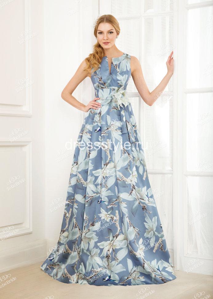 4863151a27a Длинное вечернее платье нежно голубого оттенка с цветочным принтом NN016B