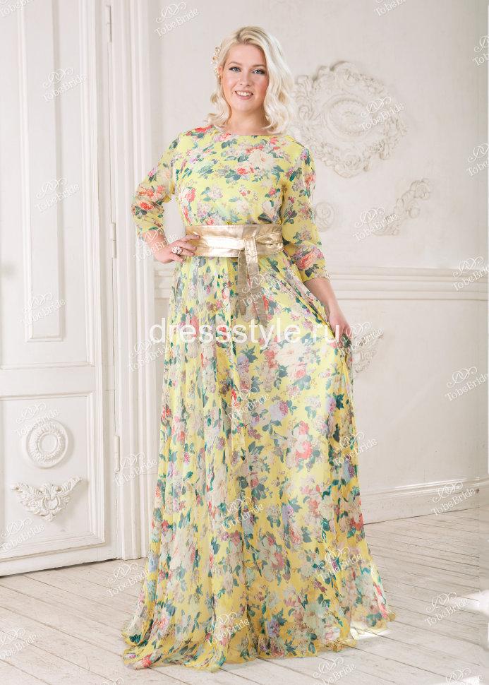 1af92216e9b Вечернее длинное платье с цветочным принтом и широким золотистым поясом  ND056B