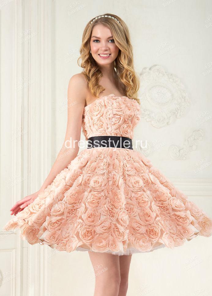 9dfcd986bb7 Вечернее платье розовое с объемными цветами розовое TB010B купить в ...