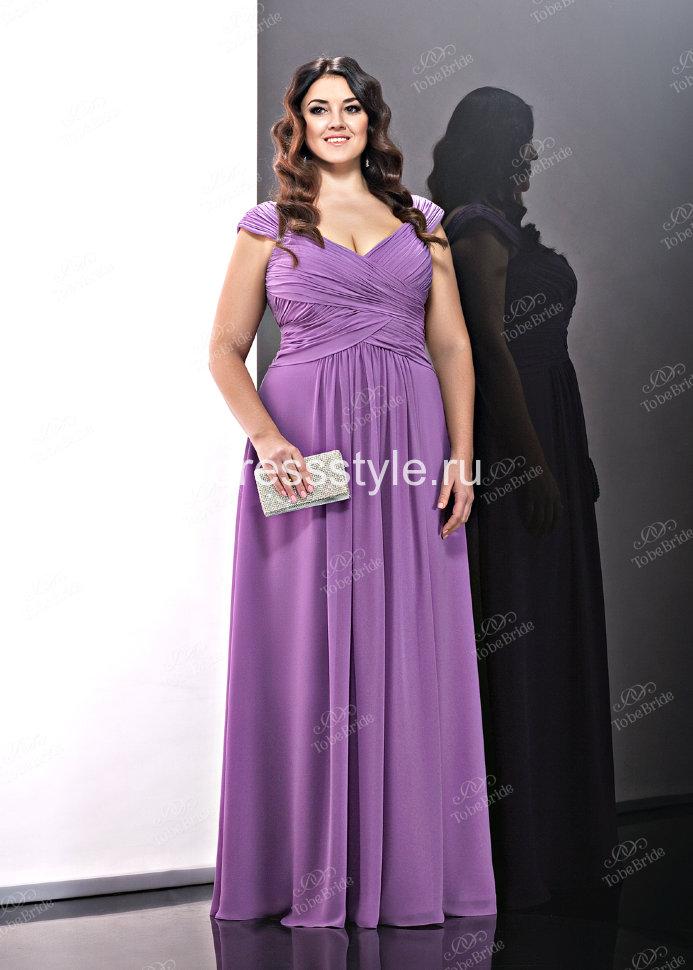 f4486367dd1c71a Вечернее длинное платье нежно-сиреневого оттенка с завышенной талией и  изящными драпировками BB446BXL