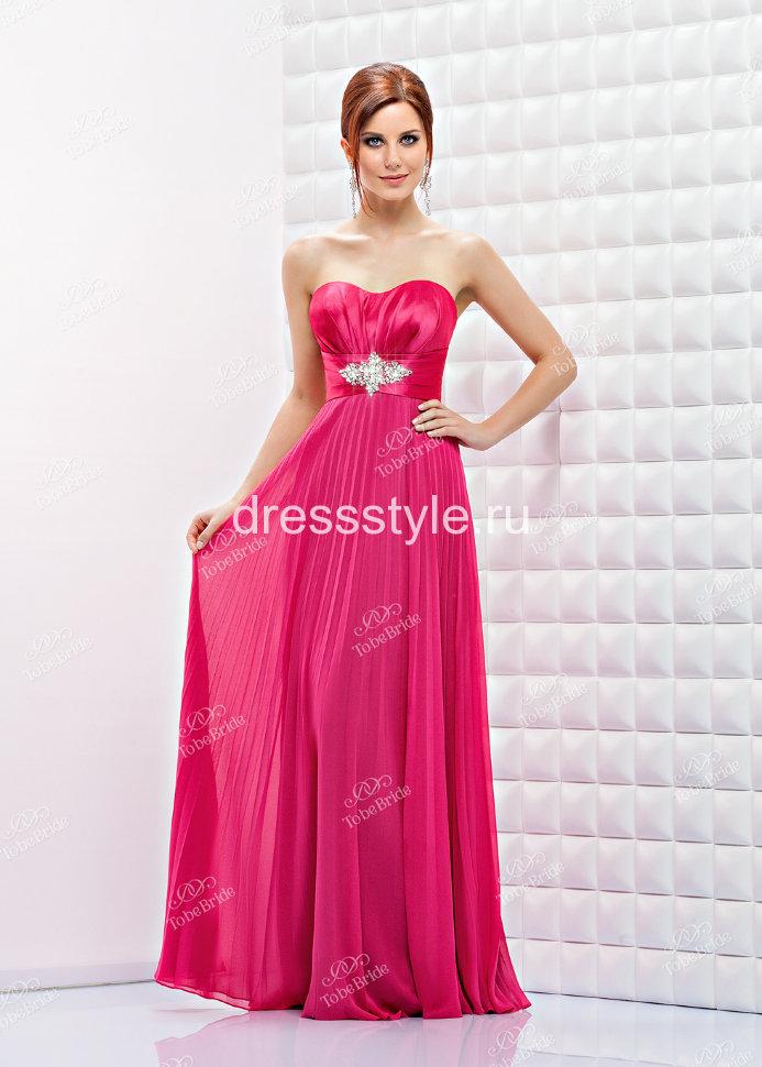 f2f96987df7 Вечернее длинное платье цвет фуксия с завышенной талией и плиссированной  юбкой BB452B