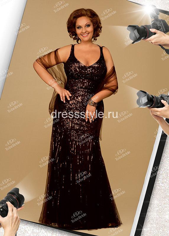1fd877b8fe9 Коричневое вечернее длинное платье с расклешенным силуэтом книзу C0021B