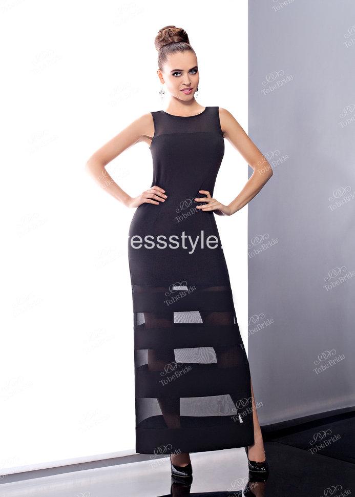 f886ce74392 Черное длинное вечернее платье с полупрозрачными полосами BV003B ...