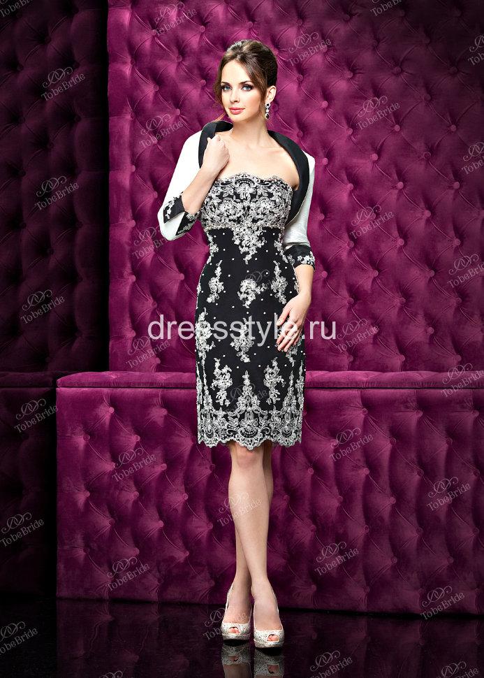 be46aef2e0b Вечернее платье-футляр на тонких бретелях покрытое цветочным кружевом и  укороченный жакет C0254B