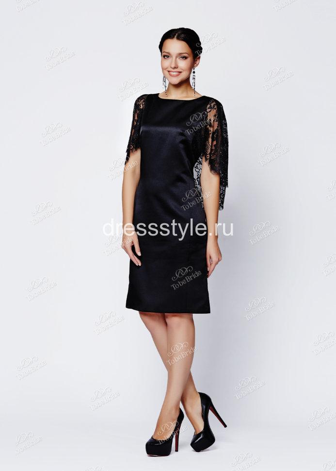 e22bfae3d32 Черное вечернее короткое платье с V-образным вырезом на спине и кружевными  рукавами крылышками EM001B