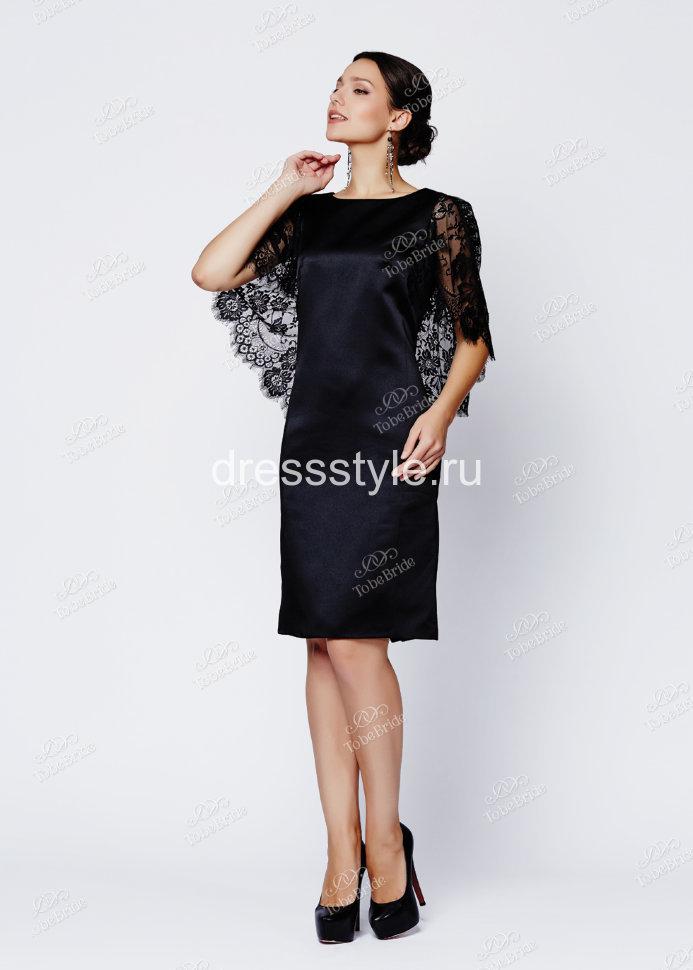 7b73199d8c0 Черное вечернее короткое платье с V-образным вырезом на спине и кружевными рукавами  крылышками EM001B